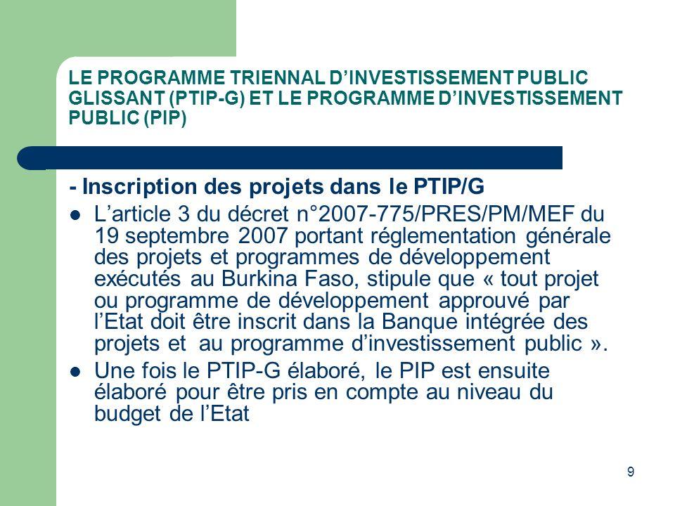 LE PROGRAMME TRIENNAL DINVESTISSEMENT PUBLIC GLISSANT (PTIP-G) ET LE PROGRAMME DINVESTISSEMENT PUBLIC (PIP) Le PIP est pris en compte dans le budget de lEtat au niveau du titre 5 « Investissements exécutés par lEtat ».