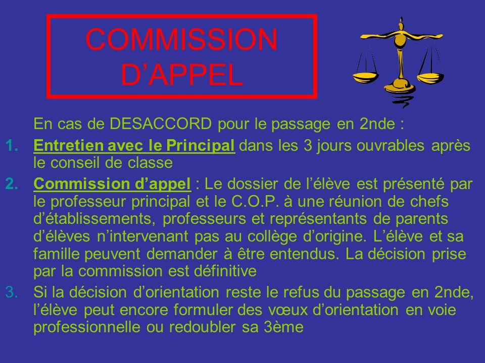 COMMISSION DAPPEL En cas de DESACCORD pour le passage en 2nde : 1.Entretien avec le Principal dans les 3 jours ouvrables après le conseil de classe 2.