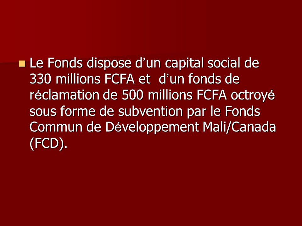Le Fonds dispose d un capital social de 330 millions FCFA et d un fonds de r é clamation de 500 millions FCFA octroy é sous forme de subvention par le Fonds Commun de D é veloppement Mali/Canada (FCD).