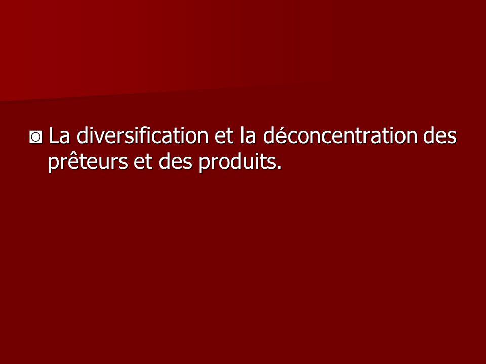 La diversification et la d é concentration des prêteurs et des produits.