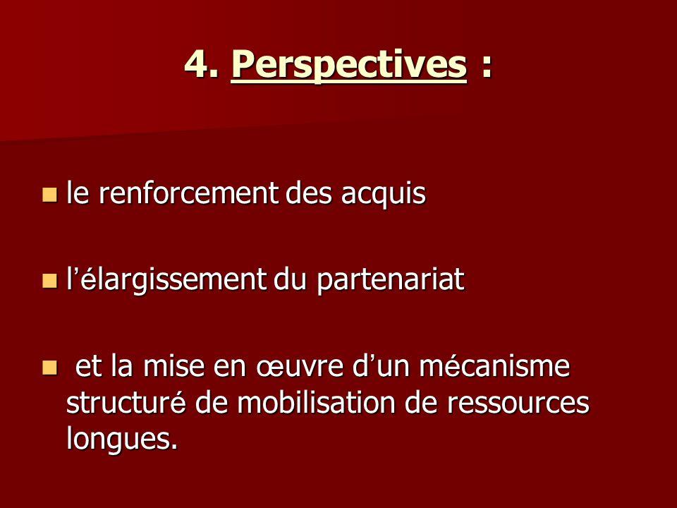 4. Perspectives : le renforcement des acquis le renforcement des acquis l é largissement du partenariat l é largissement du partenariat et la mise en