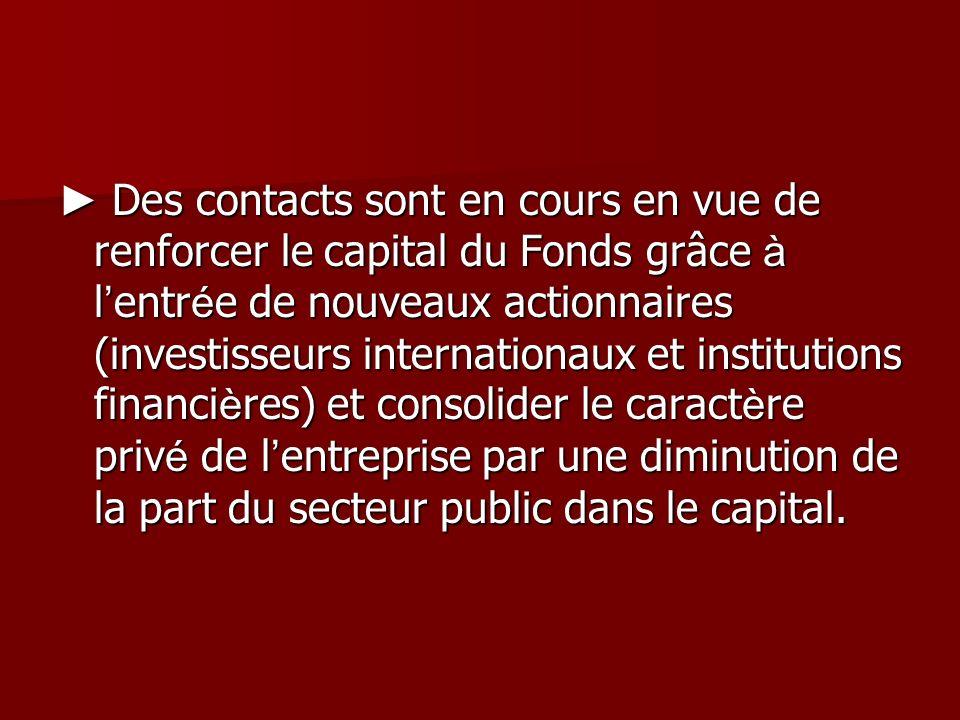 Des contacts sont en cours en vue de renforcer le capital du Fonds grâce à l entr é e de nouveaux actionnaires (investisseurs internationaux et instit