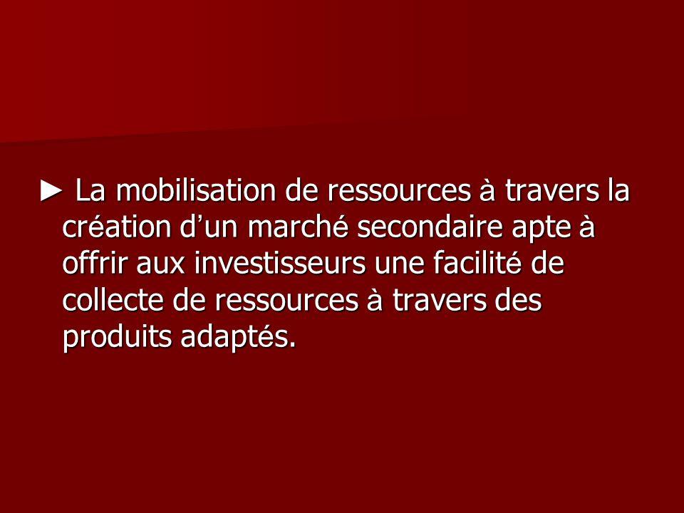 La mobilisation de ressources à travers la cr é ation d un march é secondaire apte à offrir aux investisseurs une facilit é de collecte de ressources à travers des produits adapt é s.