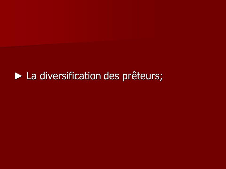 La diversification des prêteurs; La diversification des prêteurs;