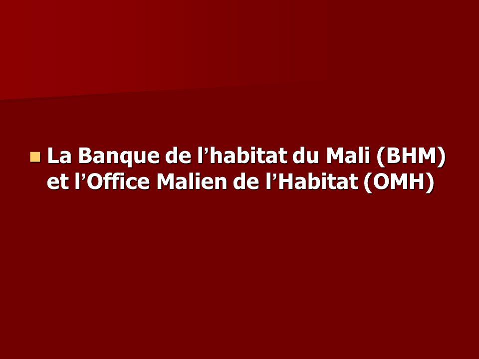 La Banque de l habitat du Mali (BHM) et l Office Malien de l Habitat (OMH) La Banque de l habitat du Mali (BHM) et l Office Malien de l Habitat (OMH)