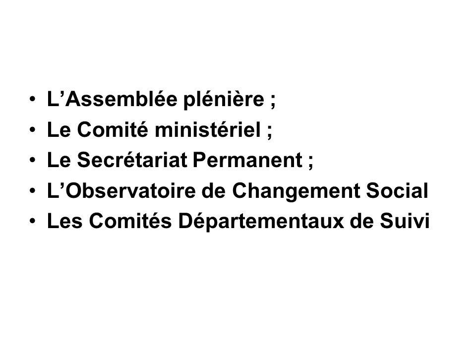 LAssemblée plénière ; Le Comité ministériel ; Le Secrétariat Permanent ; LObservatoire de Changement Social Les Comités Départementaux de Suivi