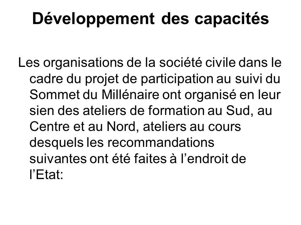 Développement des capacités Les organisations de la société civile dans le cadre du projet de participation au suivi du Sommet du Millénaire ont organisé en leur sien des ateliers de formation au Sud, au Centre et au Nord, ateliers au cours desquels les recommandations suivantes ont été faites à lendroit de lEtat: