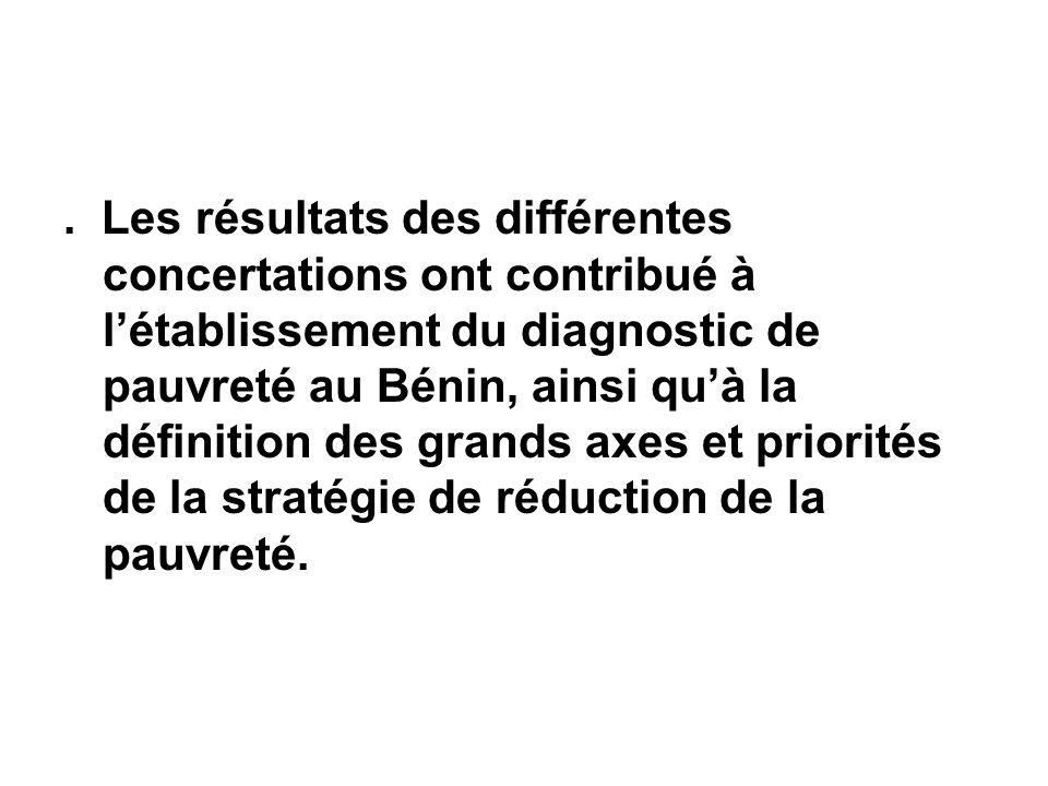 . Les résultats des différentes concertations ont contribué à létablissement du diagnostic de pauvreté au Bénin, ainsi quà la définition des grands axes et priorités de la stratégie de réduction de la pauvreté.