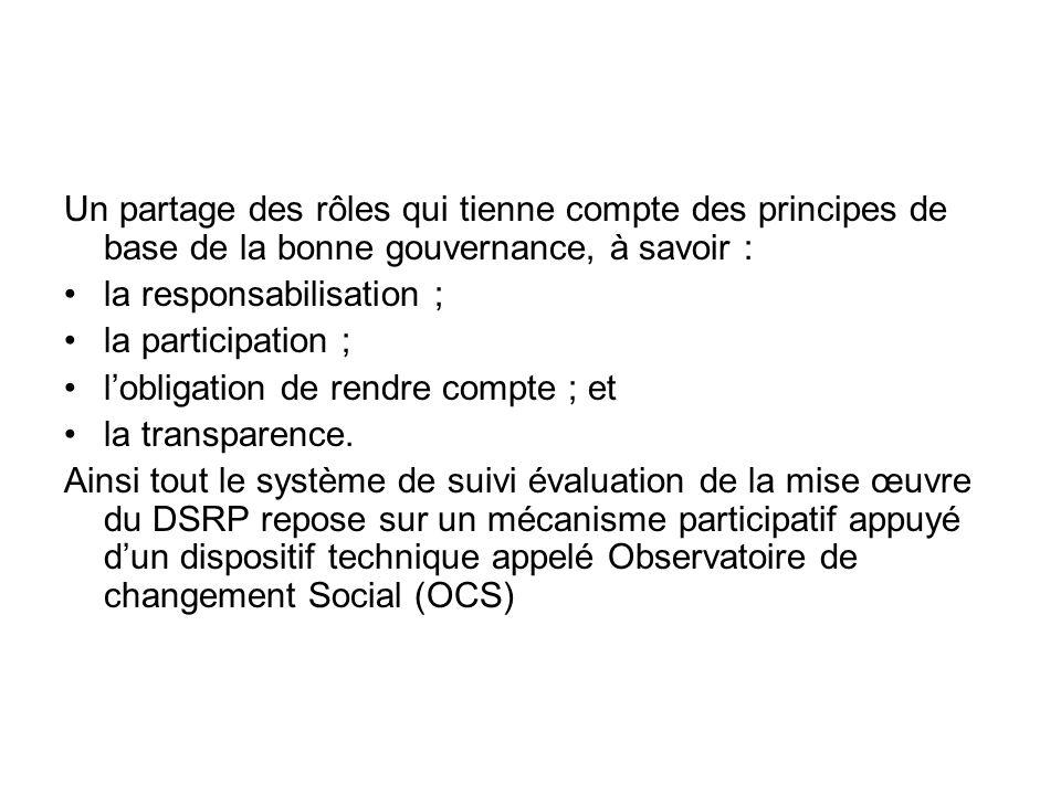 Un partage des rôles qui tienne compte des principes de base de la bonne gouvernance, à savoir : la responsabilisation ; la participation ; lobligatio