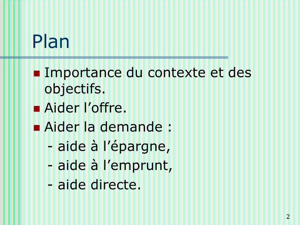 2 Plan Importance du contexte et des objectifs. Aider loffre.