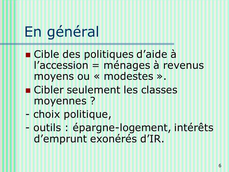 6 En général Cible des politiques daide à laccession = ménages à revenus moyens ou « modestes ».