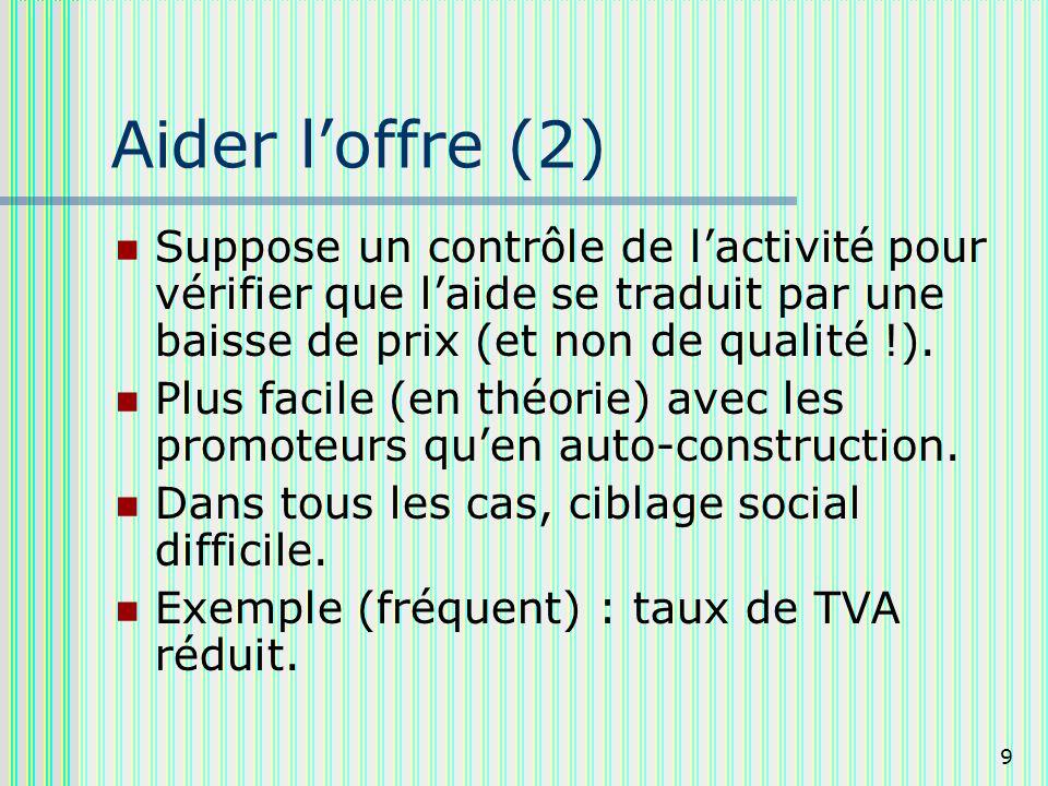 9 Aider loffre (2) Suppose un contrôle de lactivité pour vérifier que laide se traduit par une baisse de prix (et non de qualité !).