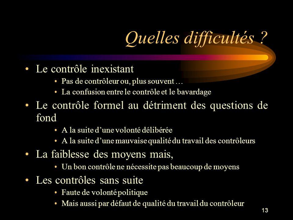 13 Quelles difficultés ? Le contrôle inexistant Pas de contrôleur ou, plus souvent … La confusion entre le contrôle et le bavardage Le contrôle formel