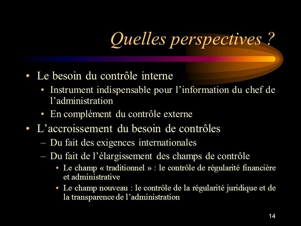 14 Quelles perspectives ? Le besoin du contrôle interne Instrument indispensable pour linformation du chef de ladministration En complément du contrôl