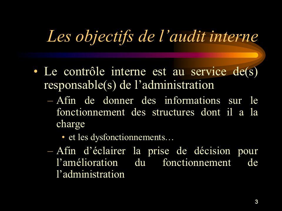 3 Les objectifs de laudit interne Le contrôle interne est au service de(s) responsable(s) de ladministration –Afin de donner des informations sur le f