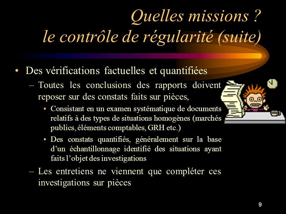 9 Quelles missions ? le contrôle de régularité (suite) Des vérifications factuelles et quantifiées –Toutes les conclusions des rapports doivent repose