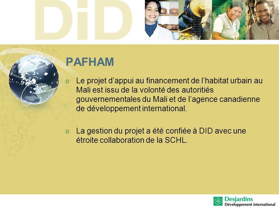 PAFHAM Le projet dappui au financement de lhabitat urbain au Mali est issu de la volonté des autoritiés gouvernementales du Mali et de lagence canadie