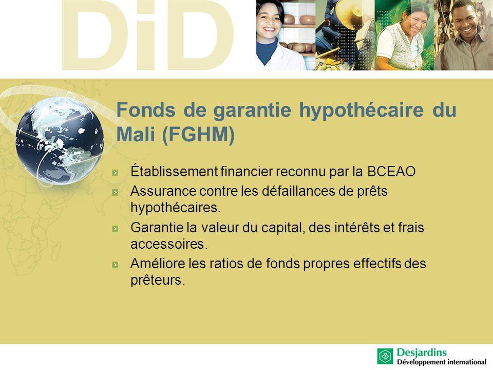 Fonds de garantie hypothécaire du Mali (FGHM) Établissement financier reconnu par la BCEAO Assurance contre les défaillances de prêts hypothécaires. G