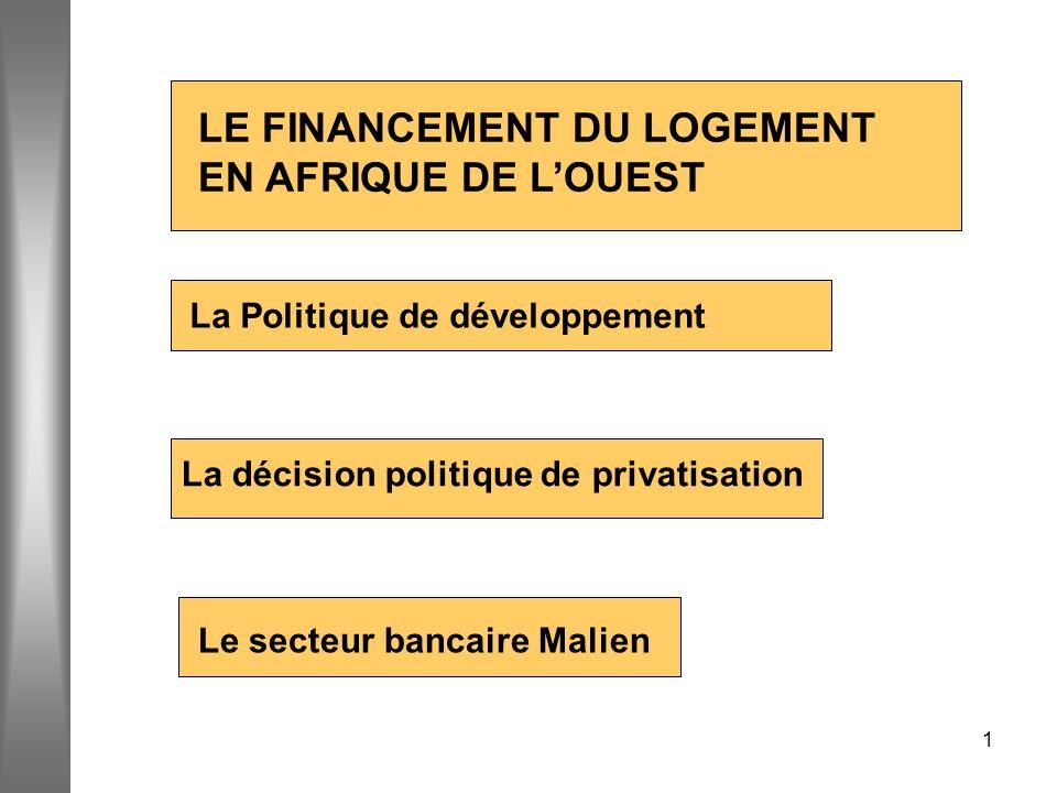 1 La Politique de développement Le secteur bancaire Malien La décision politique de privatisation LE FINANCEMENT DU LOGEMENT EN AFRIQUE DE LOUEST