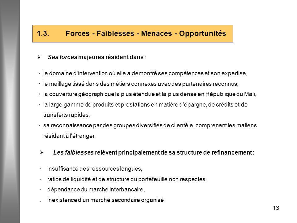 13 1.3. Forces - Faiblesses - Menaces - Opportunités Ses forces majeures résident dans : · le domaine d'intervention où elle a démontré ses compétence