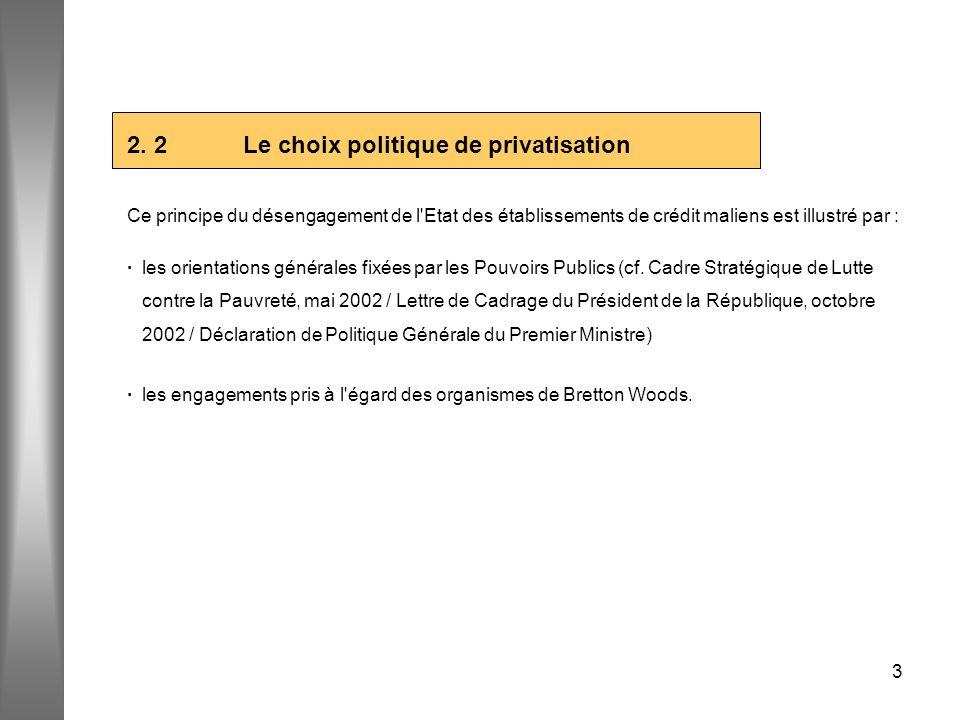 3 2. 2 Le choix politique de privatisation Ce principe du désengagement de l'Etat des établissements de crédit maliens est illustré par : · les orient
