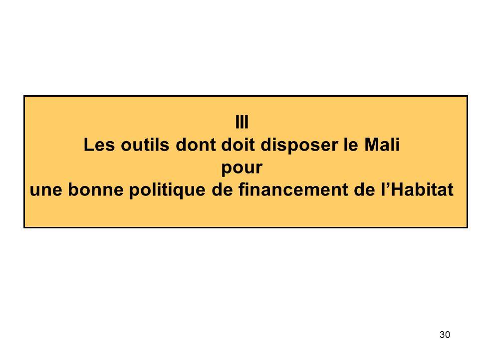 30 III Les outils dont doit disposer le Mali pour une bonne politique de financement de lHabitat