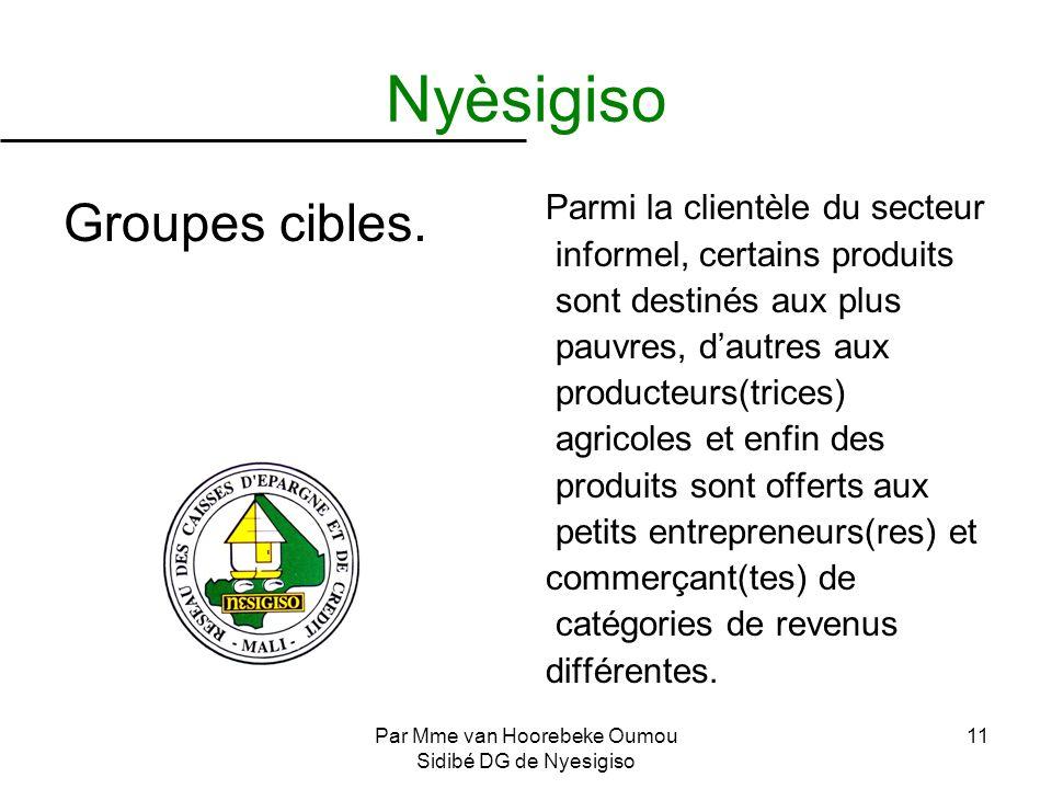Par Mme van Hoorebeke Oumou Sidibé DG de Nyesigiso 11 Nyèsigiso Groupes cibles. Parmi la clientèle du secteur informel, certains produits sont destiné