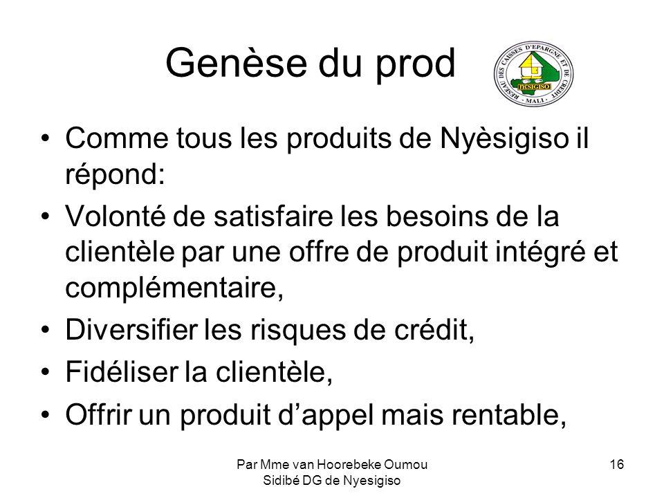 Par Mme van Hoorebeke Oumou Sidibé DG de Nyesigiso 16 Genèse du produit Comme tous les produits de Nyèsigiso il répond: Volonté de satisfaire les beso