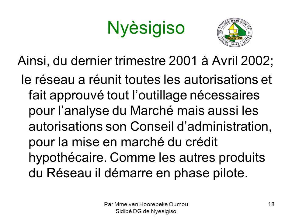 Par Mme van Hoorebeke Oumou Sidibé DG de Nyesigiso 18 Nyèsigiso Ainsi, du dernier trimestre 2001 à Avril 2002; le réseau a réunit toutes les autorisat