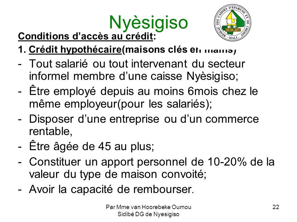 Par Mme van Hoorebeke Oumou Sidibé DG de Nyesigiso 22 Nyèsigiso Conditions daccès au crédit: 1. Crédit hypothécaire(maisons clés en mains) -Tout salar