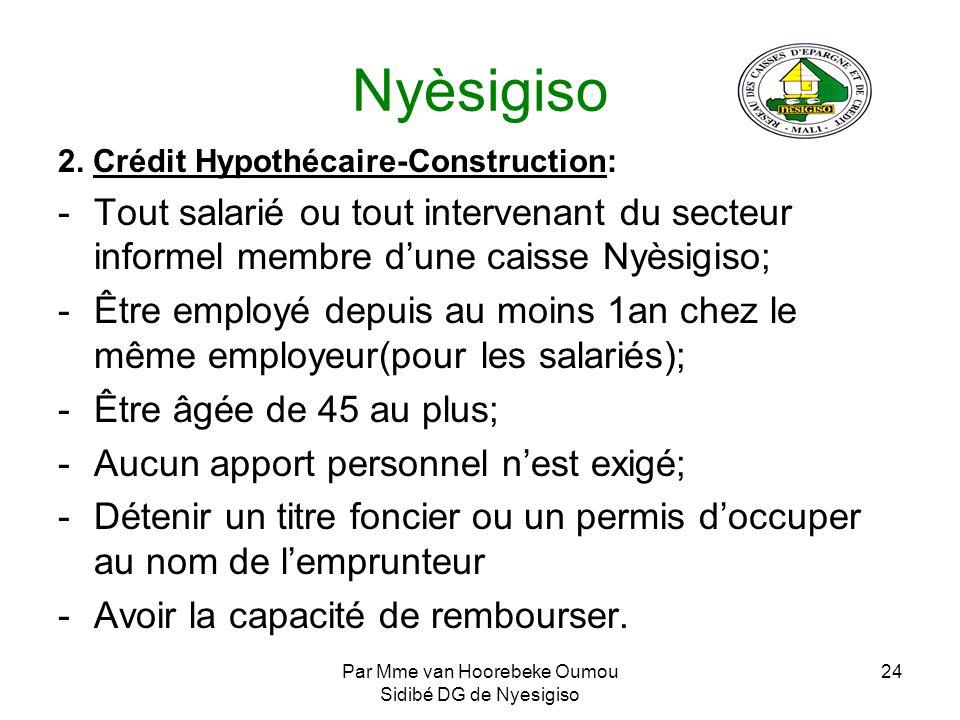 Par Mme van Hoorebeke Oumou Sidibé DG de Nyesigiso 24 Nyèsigiso 2. Crédit Hypothécaire-Construction: -Tout salarié ou tout intervenant du secteur info