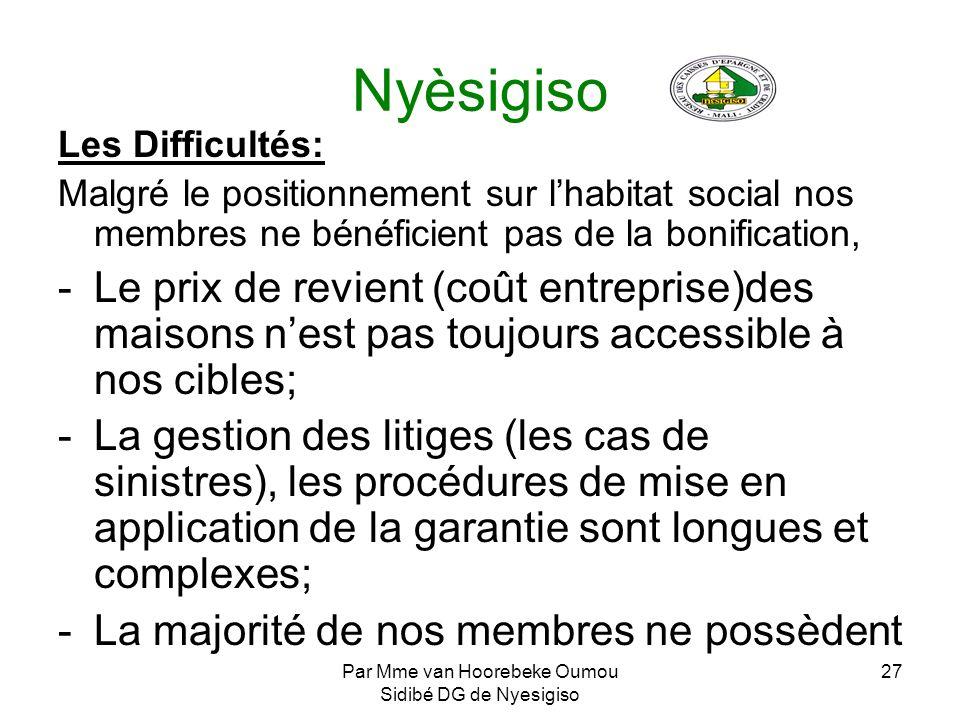 Par Mme van Hoorebeke Oumou Sidibé DG de Nyesigiso 27 Nyèsigiso Les Difficultés: Malgré le positionnement sur lhabitat social nos membres ne bénéficie