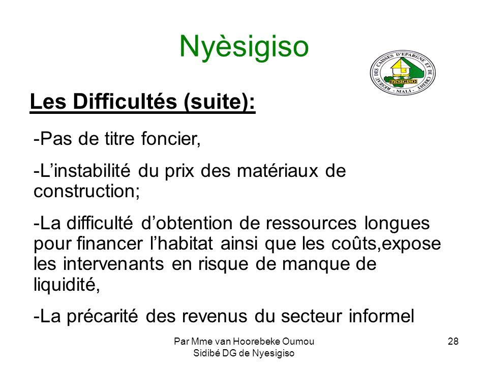 Par Mme van Hoorebeke Oumou Sidibé DG de Nyesigiso 28 Nyèsigiso Les Difficultés (suite): -Pas de titre foncier, -Linstabilité du prix des matériaux de