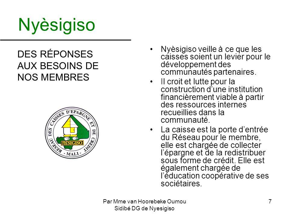 Par Mme van Hoorebeke Oumou Sidibé DG de Nyesigiso 7 Nyèsigiso DES RÉPONSES AUX BESOINS DE NOS MEMBRES Nyèsigiso veille à ce que les caisses soient un