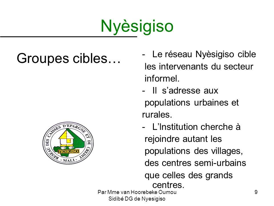 Par Mme van Hoorebeke Oumou Sidibé DG de Nyesigiso 9 Nyèsigiso Groupes cibles… -Le réseau Nyèsigiso cible les intervenants du secteur informel. -Il sa