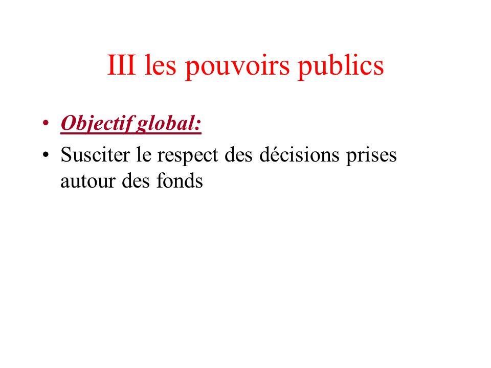 III les pouvoirs publics Objectif global: Susciter le respect des décisions prises autour des fonds