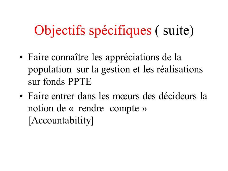 Objectifs spécifiques ( suite) Faire connaître les appréciations de la population sur la gestion et les réalisations sur fonds PPTE Faire entrer dans
