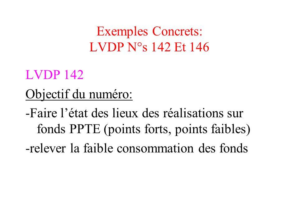 Exemples Concrets: LVDP N°s 142 Et 146 LVDP 142 Objectif du numéro: -Faire létat des lieux des réalisations sur fonds PPTE (points forts, points faibl