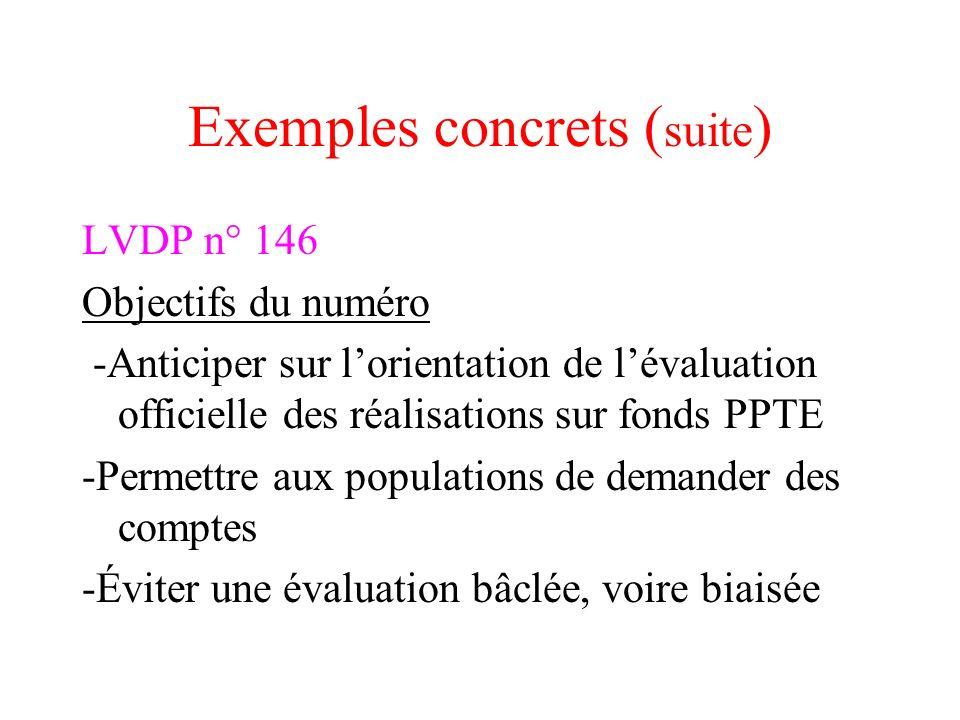 Exemples concrets ( suite ) LVDP n° 146 Objectifs du numéro -Anticiper sur lorientation de lévaluation officielle des réalisations sur fonds PPTE -Per