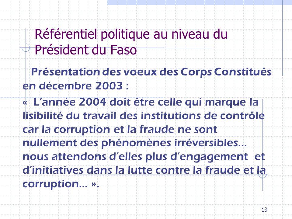12 Référentiel politique au niveau du Président du Faso Message à la Nation 11 décembre 2002 « La consolidation de nos acquis en matière de démocratie