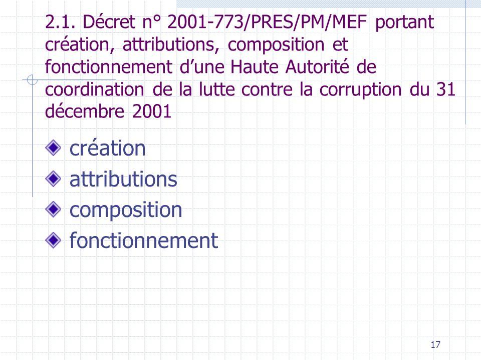 16 Bases Textuelles (suite) 2.4. Décret N° 2002-340/PRES/PM du 21 juillet 2002 portant nomination dun Président de la HACLC 2.5. Décret n° 2002-343/PR