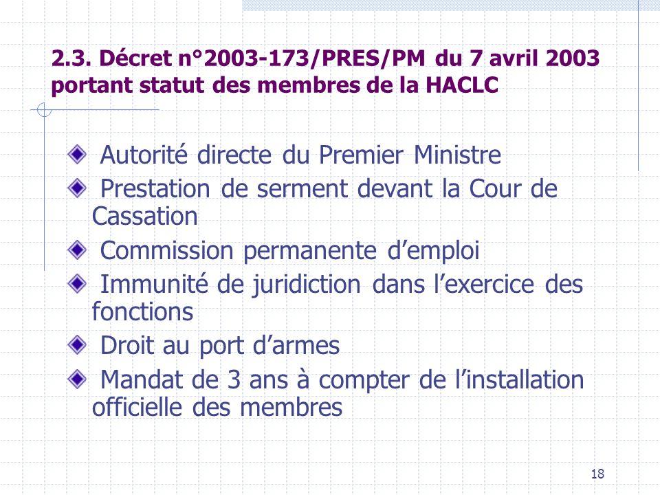 17 2.1. Décret n° 2001-773/PRES/PM/MEF portant création, attributions, composition et fonctionnement dune Haute Autorité de coordination de la lutte c