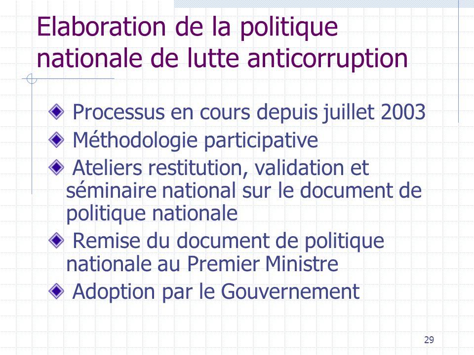 28 6. Programme dactions (suite) Sensibilisation et communication en direction des citoyens Elaboration de la politique nationale de lutte anticorrupt