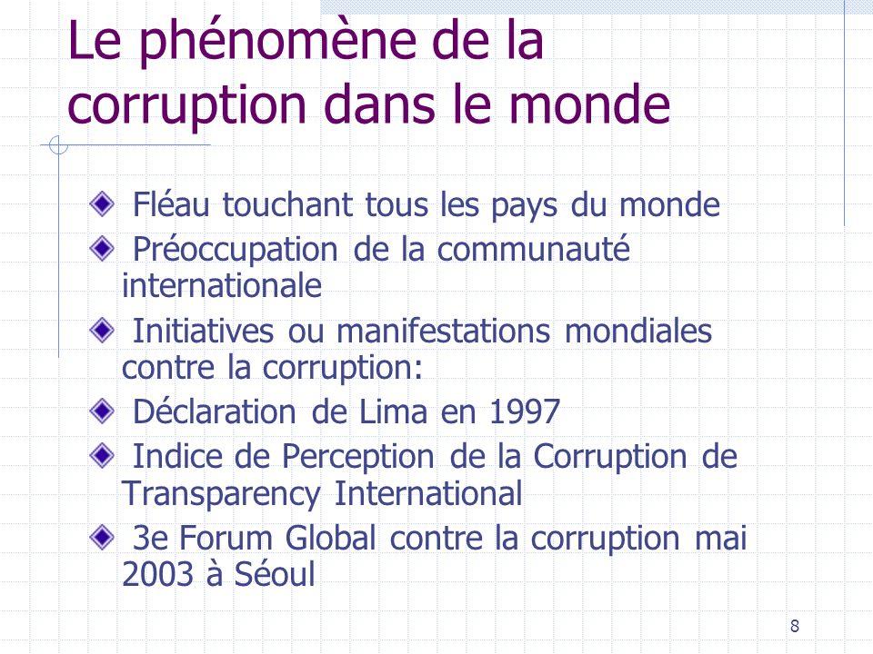 7 1.2. Contexte international et national Le phénomène de la corruption dans le monde Le phénomène de la corruption au Burkina Faso