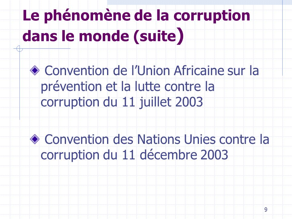 29 Elaboration de la politique nationale de lutte anticorruption Processus en cours depuis juillet 2003 Méthodologie participative Ateliers restitution, validation et séminaire national sur le document de politique nationale Remise du document de politique nationale au Premier Ministre Adoption par le Gouvernement