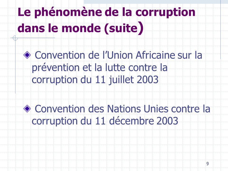 8 Le phénomène de la corruption dans le monde Fléau touchant tous les pays du monde Préoccupation de la communauté internationale Initiatives ou manif