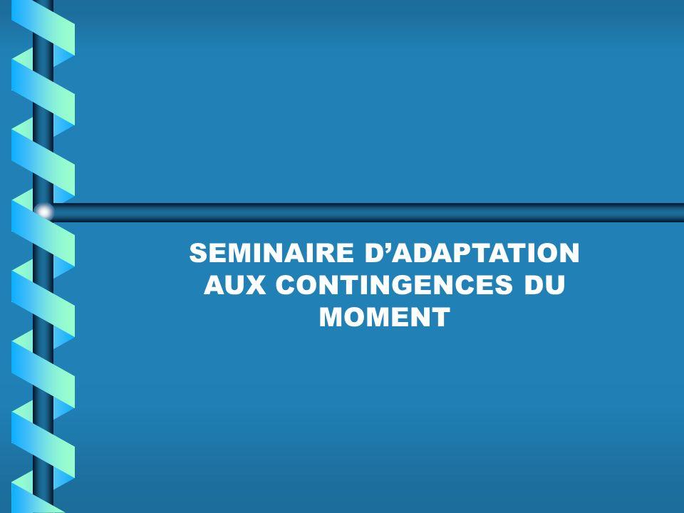 SEMINAIRE DADAPTATION AUX CONTINGENCES DU MOMENT