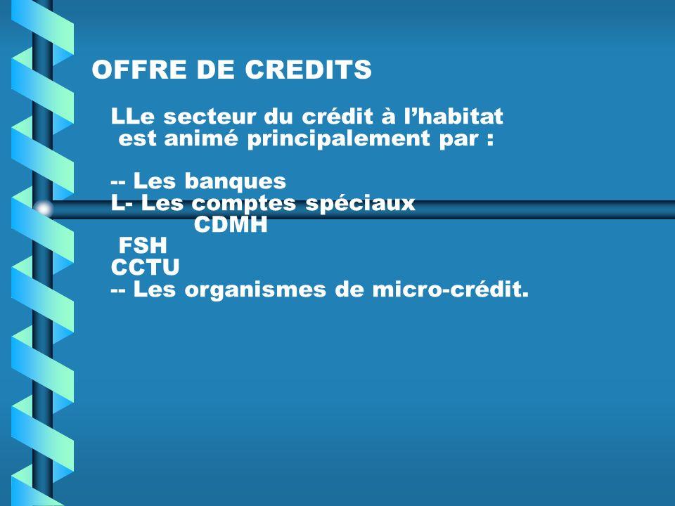 OFFRE DE CREDITS LLe secteur du crédit à lhabitat est animé principalement par : -- Les banques L- Les comptes spéciaux CDMH FSH CCTU -- Les organismes de micro-crédit.