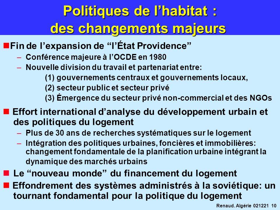 Renaud. Algérie 021221 10 Fin de lexpansion de lÉtat Providence –Conférence majeure à lOCDE en 1980 –Nouvelle division du travail et partenariat entre