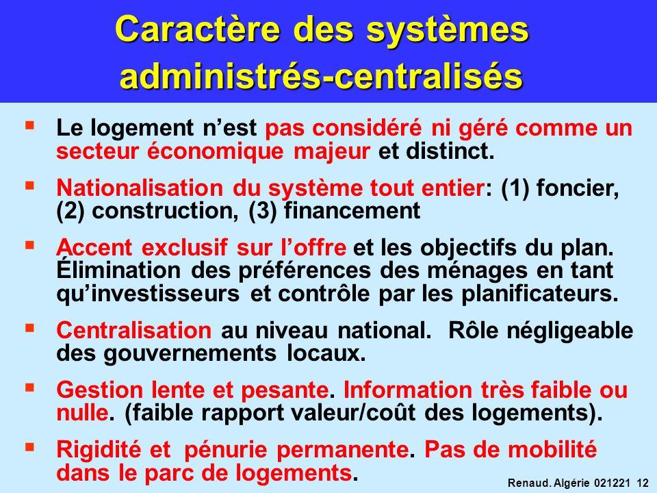 Renaud. Algérie 021221 12 Caractère des systèmes administrés-centralisés Le logement nest pas considéré ni géré comme un secteur économique majeur et
